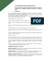 Lista de Requisitos Minimos Para La Documentacion