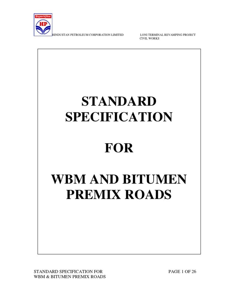 Standard Specification for Wbm & Asphalt Roads | Asphalt | Road