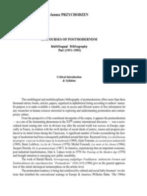 Discourses Of Post Modernism Postmodernism Modernism