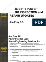 ASME B31 1 Power Piping Inspection and Repair Updates Joe Frey