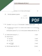 IB1 Maths HL Algebra Unit Test 1