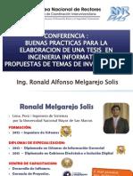 Conferencia Buenas Practicas Para La Elaboracion de Una Tesis en Ingenieria Informatica.