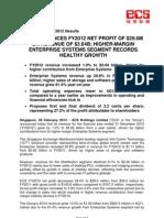 SGX-Listed ECS Announces Fy2012 Net Profit Of $29.6m On Revenue Of $3.64b; Higher-Margin Enterprise Systems Segment Records Healthy Growth