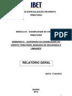 RELATÓRIO GERAL - SEMINÁRIO II