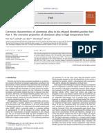 Corrosion characteristics of aluminum alloy in bio-ethanol blended gasoline fuel
