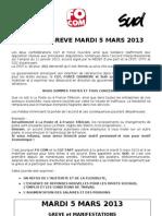 Tract rectifié commun grève du 5 mars 2013
