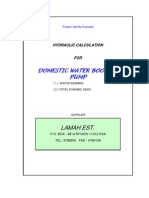 Domestic Water Booster Pump Calculations