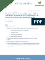 Informe de Urgencia sobre el Real Decreto Ley 4/2013