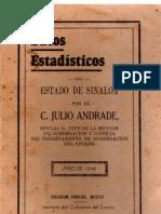 Datos Estadisticos Del Estado de Sinaloa 1946 - Julio Andrade