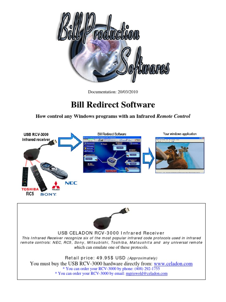 Bill Redirect Infrared Remote Controls Receiver Computer Keyboard Ir For Sony Remotes Media Technology