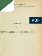 Barthélemy Charles - Erreurs et mensonges Historiques - Tome 01