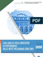 Una Analisi Degli Indicatori Di Performance Nelle Note Preliminari 2008 2009