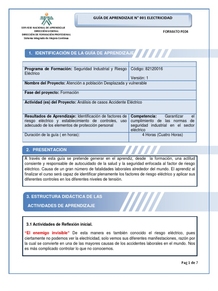 GUÍA DE APRENDIZAJE 001 ELECTRICIDAD