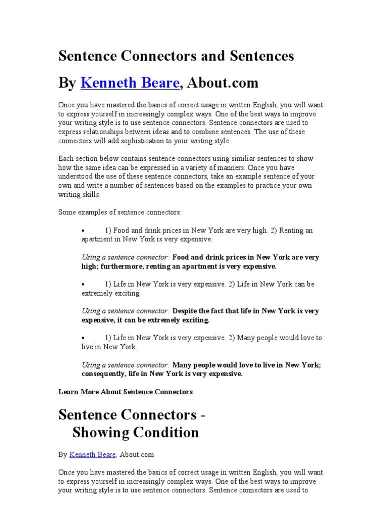 Sentence Connectors Preposition And Postposition English Language