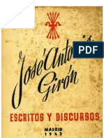 Escritos y discursos. (José Antonio Girón. 1943)