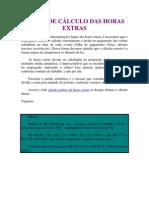 FORMA DE CÁLCULO DAS HORAS EXTRAS