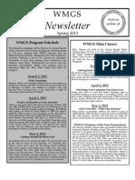 WMGS Newsletter Spring 2013