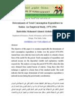 Determinants of Total Consumption in Sudan