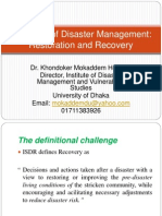 Concepts of Disaster Management Recovery