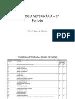 FISIOLOGIA VETERINÁRIA – 3° Período AULA 1