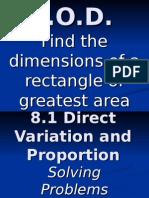 8.1 Direct Variation Proportion