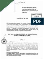 Proyecto de Ley N° 789-2011-CR. Ley del SNB y Fomento de la Lectura