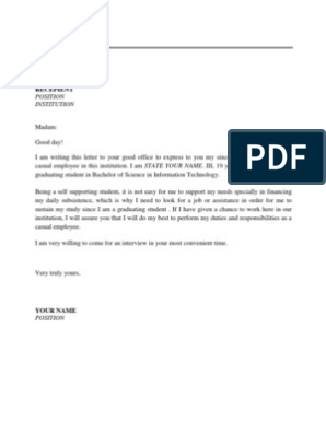 Application letter for applying as a casual employee