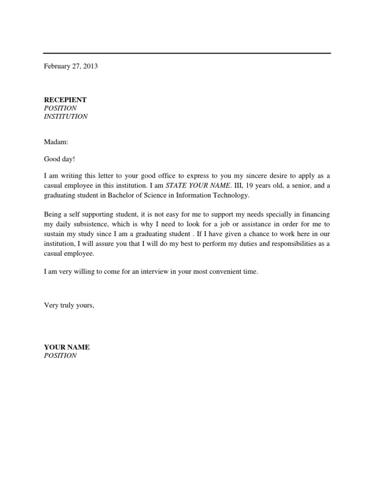 Application letter for applying as a casual employee stopboris Choice Image