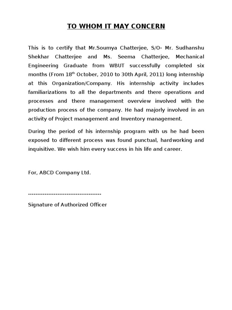 Internship certificate sample doc yadclub Images