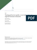 Training and Service Quality, A Case Study Analysis of Regional Australian Restaurants