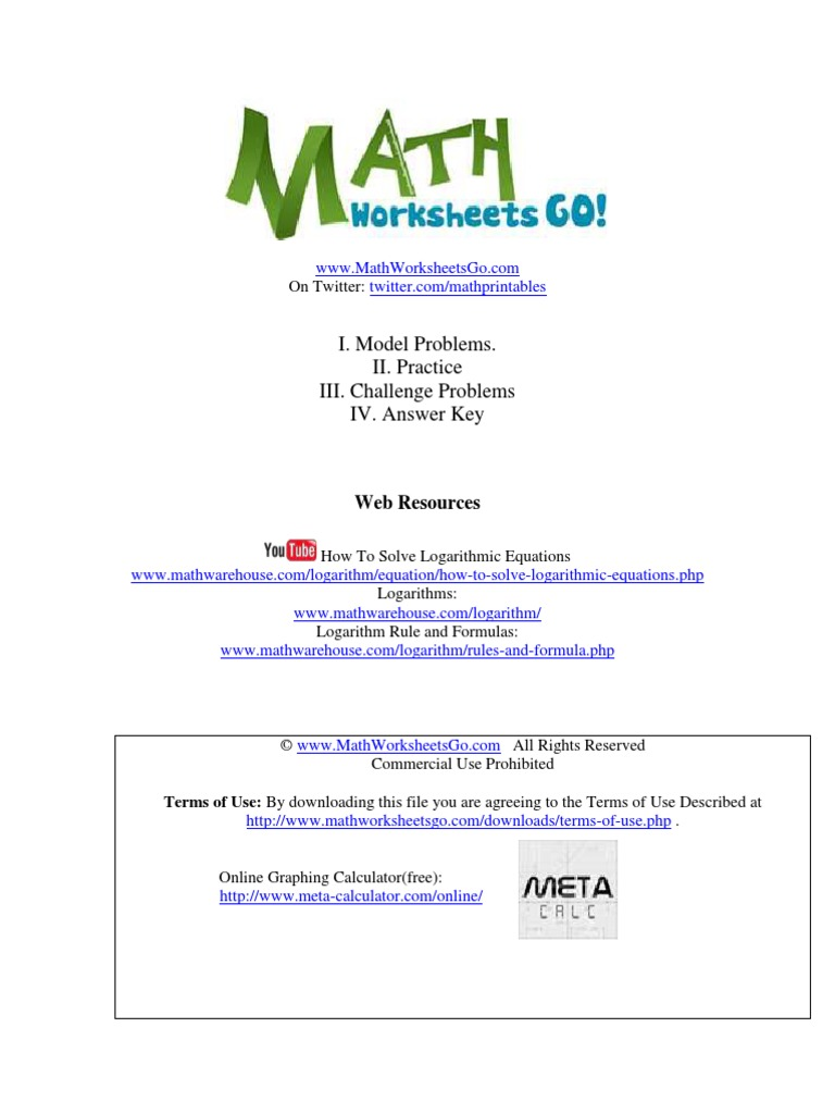 Logarithmic Equations Worksheet Logarithm Applied Mathematics