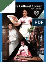 Mars à Juin 2013 - Programme du Centre Culturel Coréen à Paris