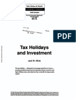 Tax Holiday and Investment