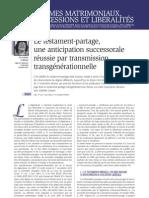 Le testament-partage et la transmission transgénérationelle