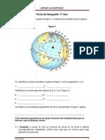 Ficha de Geografia - 7º Ano