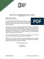 Frente Nuevo León - Liberación de la enfermera Anita Urbina Alvarado