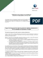 Note Île-de-France  modifications ayant un impact sur les statistiques de demandeurs d'emploi