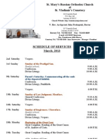 3. Schedule of Divine Services - March, 2013