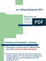 Research on Telling Students WHY