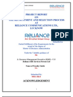 Mbe Reliance ProjectPROJECT REPORT ON THE RECRUITMENT AND SELECTION PROCESS AT RELIANCE COMMUNICATIONS LTD