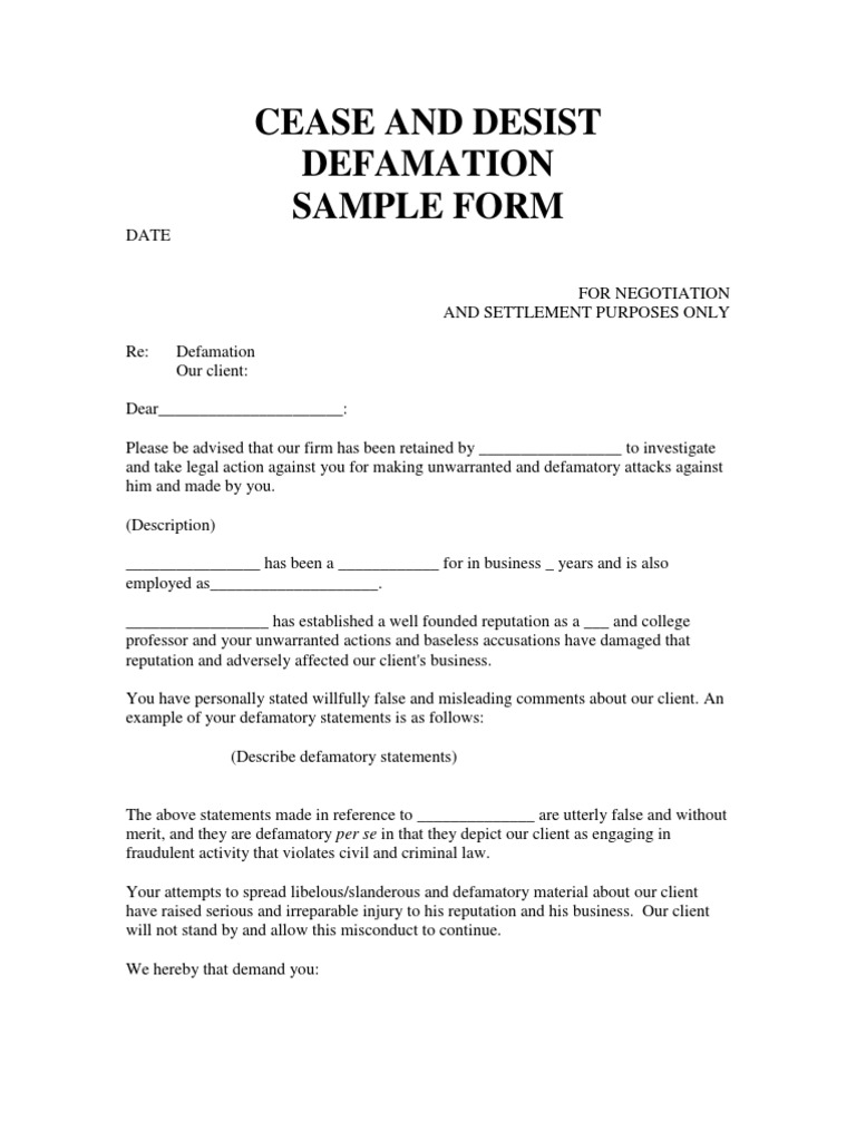 Ceast and Desist Defamation  SAMPLE FORM | Defamation | Cease And
