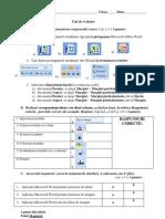 Test Procesorul de Texte Microsoft Word-Model