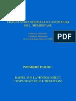 Coagulation Normale Et Anomalies de l'Hemostase