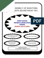 AMC First Nation Water Legislation Forum Poster Feb 2013