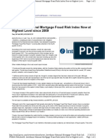 Interthinx National Mortgage Fraud Risk Index Now at Highest Level Since 2009