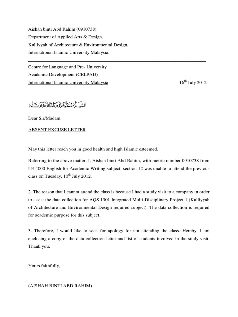 Absent Excuse Letter for Not Attending Class   Abrahamic