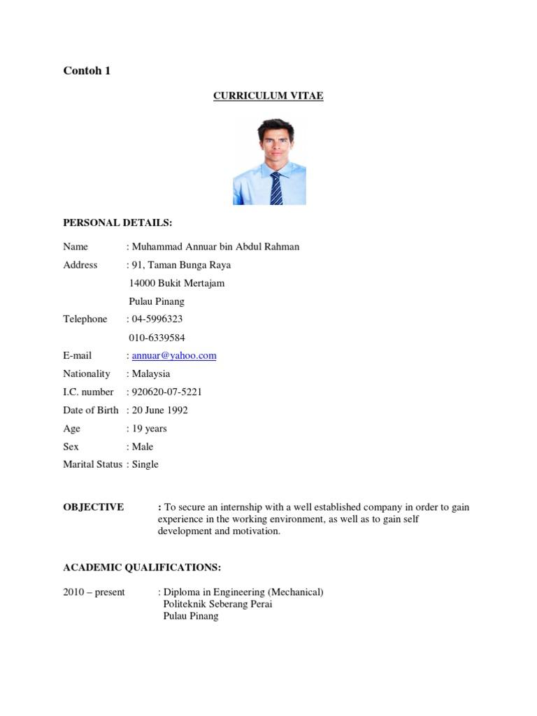 Contoh Resume Untuk Latihan Industri Further Education