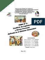 CONFLICTO DE LEGISLACIÓN Y NORMA PROCESAL