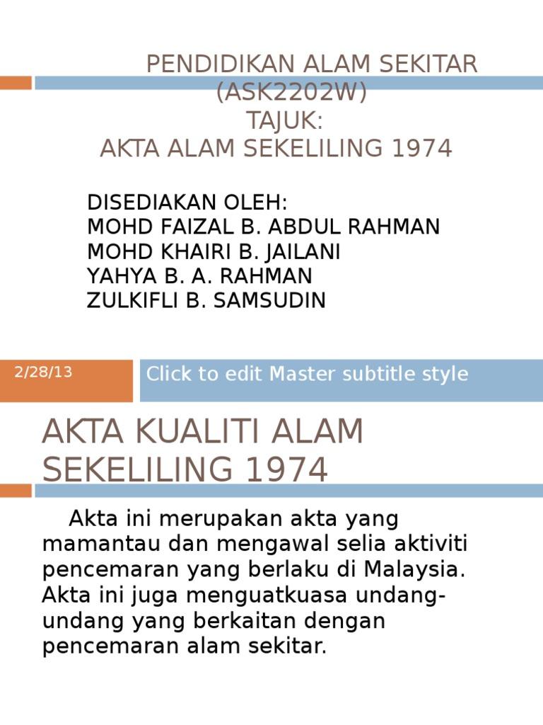 Akta Alam Sekeliling 1974