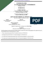 ADVANCED MEDICAL OPTICS INC 8-K (Events or Changes Between Quarterly Reports) 2009-02-20